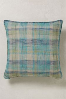 Large Astley Check Blue Cushion