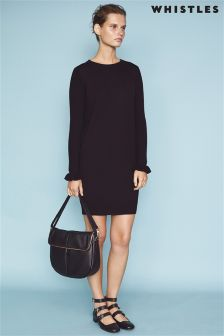 Whistles Black Frill Cuff Knit Dress
