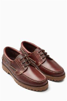 Cleated Leather Boat Shoe