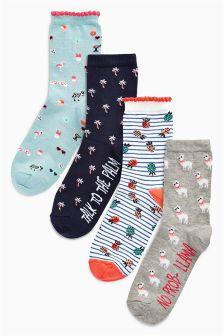 Slogan Pattern Ankle Socks Four Pack