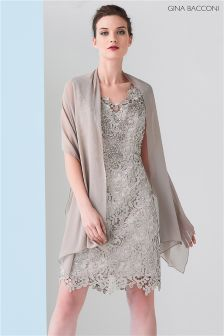 Gina Bacconi Beige Lace Dress With Beaded Neck And Scarf