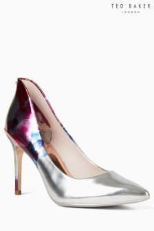 Ted Baker Floral Silver Metallic Pointed Court