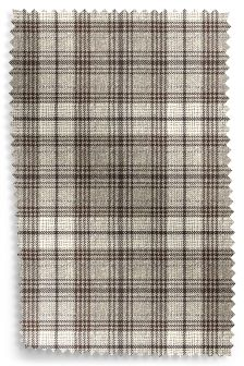 Tweedy Textured Check Dark Natural Fabric Roll