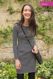 Joules Daylia Print Black Stripe Long Sleeved Sweat Dress
