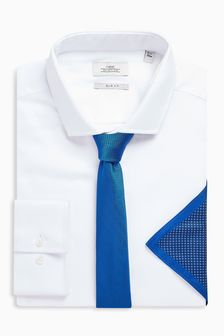 Slim Fit Shirt With Tie And Pocket Square Set