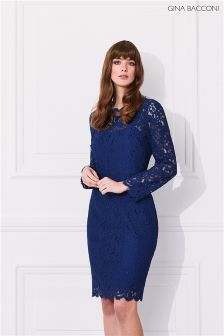 Gina Bacconi Navy Lace Dress With Jewel Flower Buttons