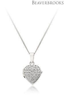 Beaverbrooks 9ct White Gold Cubic Zirconia Heart Locket Pendant