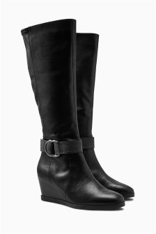 Leather Strap Long Wedge Boots