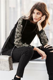 Embellished Sweat Top