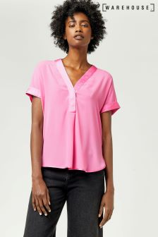 Warehouse Bright Pink Satin Mix Blouse