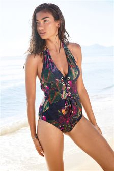 Printed Eyelet Swimsuit