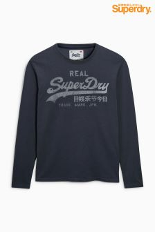 Superdry Script Logo Navy Long Sleeve Top