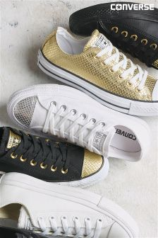 Converse White Chuck Taylor All Star Metallic Toe Cap