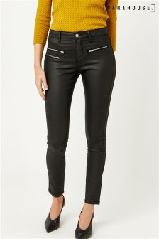 Warehouse Black Coated Biker Jean