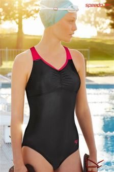 Speedo® Black/Pink Essential Clipback Swimsuit