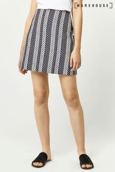 Warehouse Black/White Link Jacquard Belted Skirt