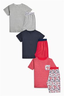 Skull Print Short Pyjamas Three Pack (3-16yrs)