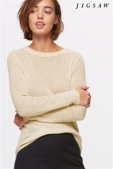 Jigsaw Pale Taupe Cashmere Crew Neck