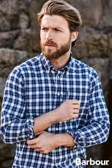 Barbour® Navy Tailored Fit Theo Plaid Shirt