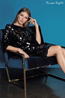 Phase Eight Black Belda Sequin Disk Dress