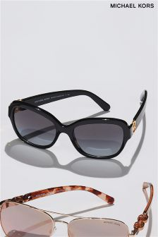 Michael Kors Black Tabitha III Logo Arm Polarised Sunglasses