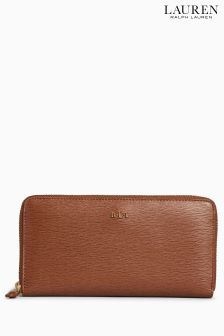 Ralph Lauren Tan Leather Tate Zip Purse