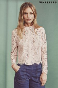 Whistles Nude Chay Lace Top
