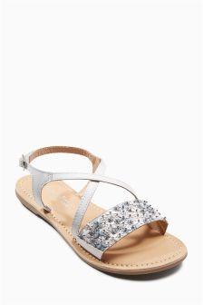 Embellished Flower Sandals (Older Girls)