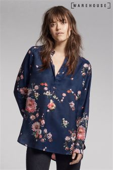 Warehouse Navy Painted Floral Placket Blouse