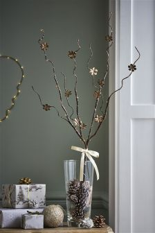 Lit Gold Metal Floral Twigs