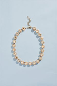 Enamel Coated Crystal Effect Necklace