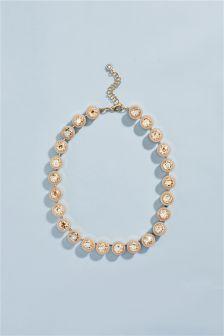 Enamel Coated Crystal Effect Necklace