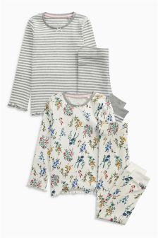 Snuggle Fit Floral Pyjamas Two Pack (3-16yrs)