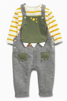 Dinosaur Dungarees And Stripe Bodysuit Set (0mths-2yrs)