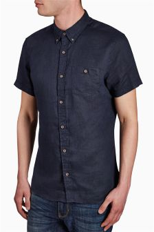 Short Sleeve Linen Blend Shirt