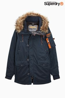 Superdry Navy Faux Fur Hooded Parka