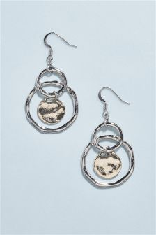 Organic Coin Drop Earrings