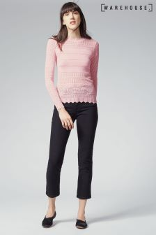 Warehouse Pale Pink Pretty Pointelle Jumper