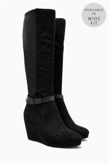 Strap Stretch Long Wedge Boots