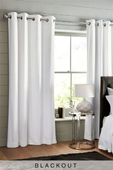 White · Grey · Cotton Waffle Blackout Lined Eyelet Curtains