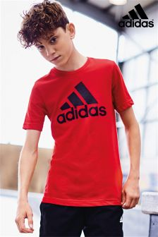 adidas Red Essential Logo T-Shirt