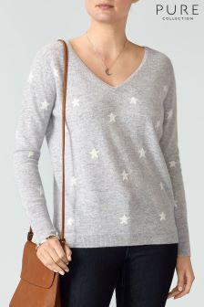 Pure Collection Grey Boyfriend Cashmere Sweater