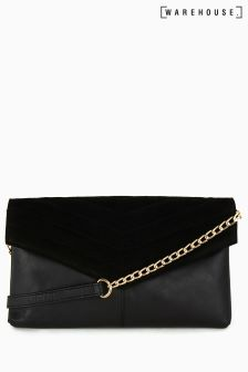 Warehouse Black Quilted Cross Body Bag