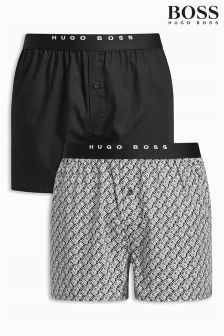Boss Hugo Boss Black/Black Print Woven Boxer Two Pack