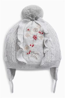 Embroidered Trapper Hat (Younger Girls)