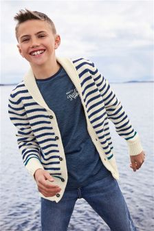 Stripe Knitted Shawl Cardigan (3-16yrs)