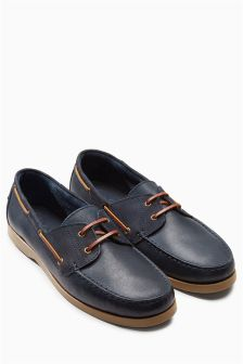 Mixed Leather Boat Shoe