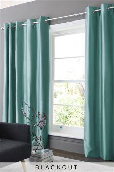 Faux Silk Blackout Eyelet Curtains