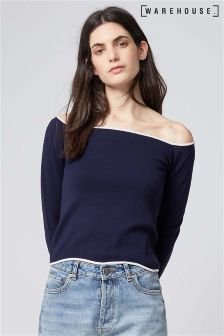 Warehouse Navy/Cream Trim Wavy Bardot Top