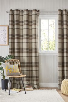 Woven Stirling Check Eyelet Lined Curtains